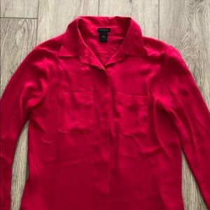 Ann Taylor Magenta Button-Down Shirt Size 0